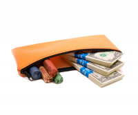 "Orange Zipper Bank Bag, 5.5"" X 10.5"" 