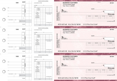 Burgundy Marble Payroll Invoice Business Checks | BU3-7BMA01-PIN