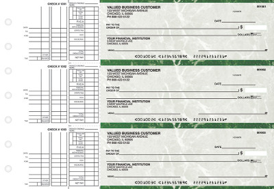 Green Marble Multi Purpose Business Checks | BU3-GMA01-DEP