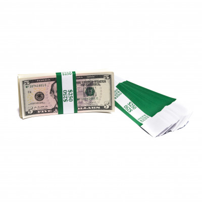 Dark Green Barred $250 Currency Bands  | CBB-005