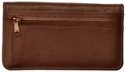Dark Brown Leather Zippered Checkbook Cover | CLZ-BRN01