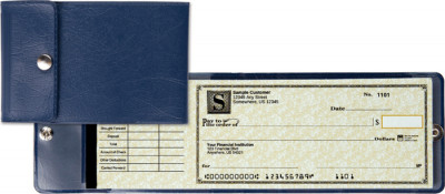 Blue End Stub Vinyl Checkbook Cover | CVE-BLU01
