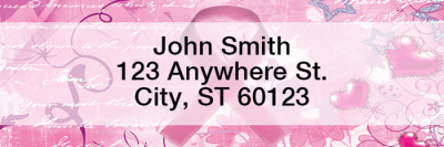Breast Cancer Rectangle Address Labels | LREVC-31