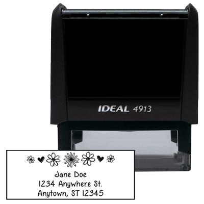 Rectangle Floral Designer Stamp | STA-LAS-DR02