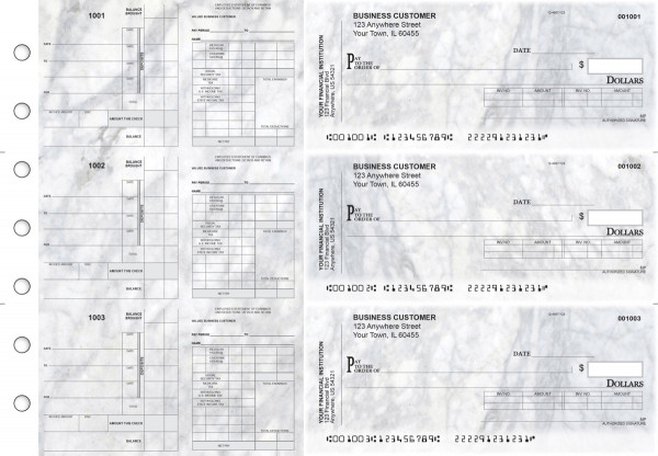 Marble Payroll Invoice Business Checks | BU3-7CDS20-PIN