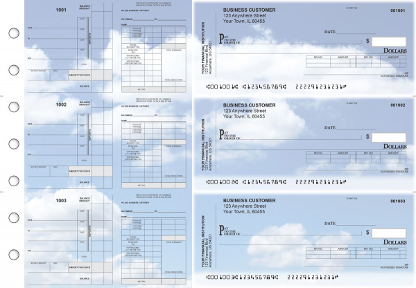 Clouds Payroll Invoice Business Checks | BU3-7CDS21-PIN