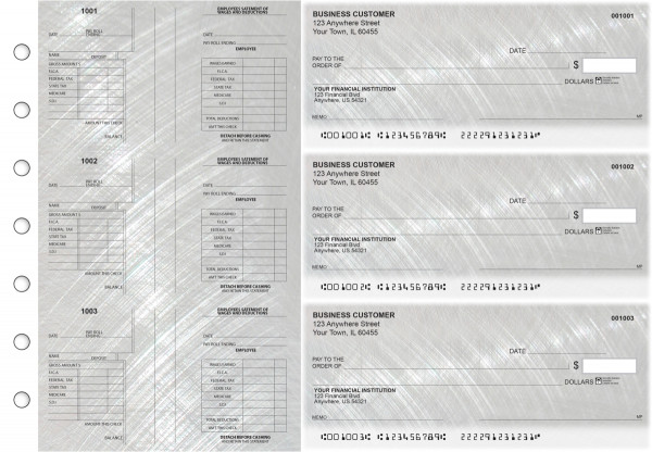 Brushed Metal Multi-Purpose Salary Voucher Business Checks | BU3-7CDS23-MPS