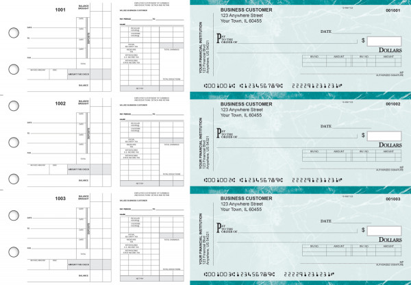 Teal Marble Payroll Invoice Business Checks | BU3-7EMA01-PIN