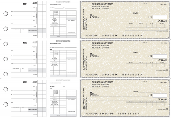 Tan Parchment Payroll Invoice Business Checks | BU3-7TPM01-PIN