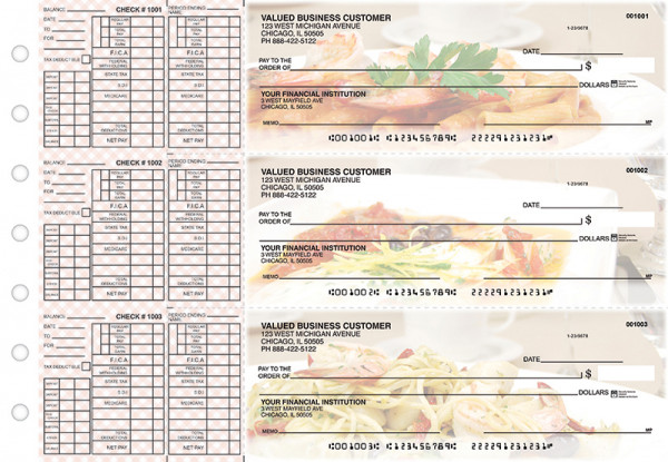 Italian Cuisine Payroll Designer Business Checks  | BU3-CDS05-PAY