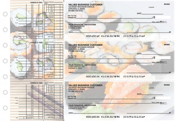 Japanese Cuisine Multi Purpose Designer Business Checks  | BU3-CDS06-DEP