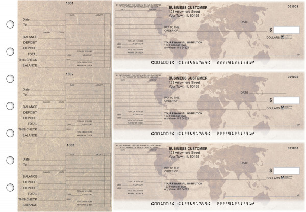 World Map General Itemized Invoice Business Checks | BU3-CDS26-GII