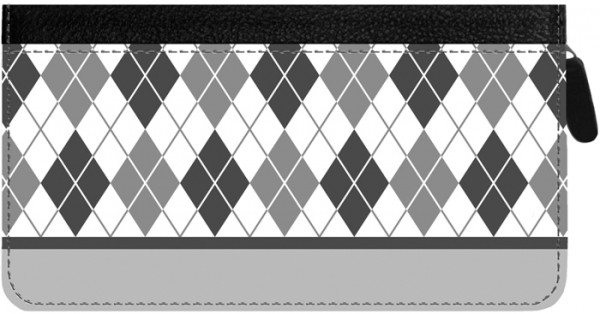 Argyle New Black and White Zippered Checkbook Cover | CLZ-GEO11