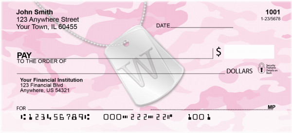 Dog Tag Monogram W Personal Checks | MONO-04W