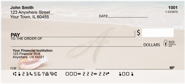 Sand Written Monogram 'A' Personal Checks | MONO-07A