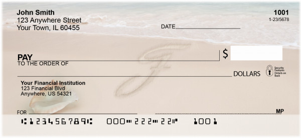 Sand Written Monogram 'F' Personal Checks | MONO-07F