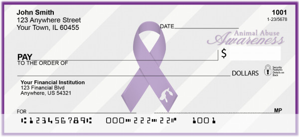 Animal Abuse Awareness Ribbon Checks | RIB-06