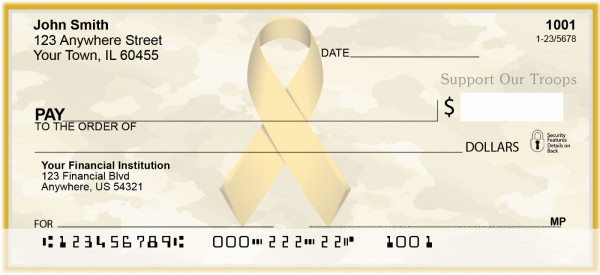 Support Our Troops Ribbon Personal Checks | RIB-27