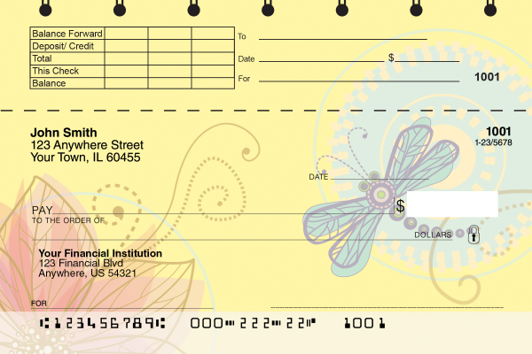 Garden Dragonflies Top Stub Checks | TSNAT-78