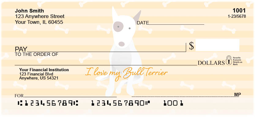 My Bull Terrier Loves Me Personal Checks