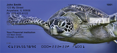 Sea Turtles Under Water Personal Checks