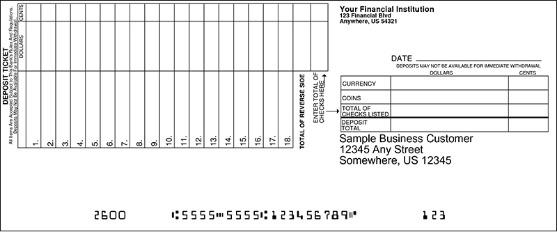 Loose Business Deposit Slips Style 17