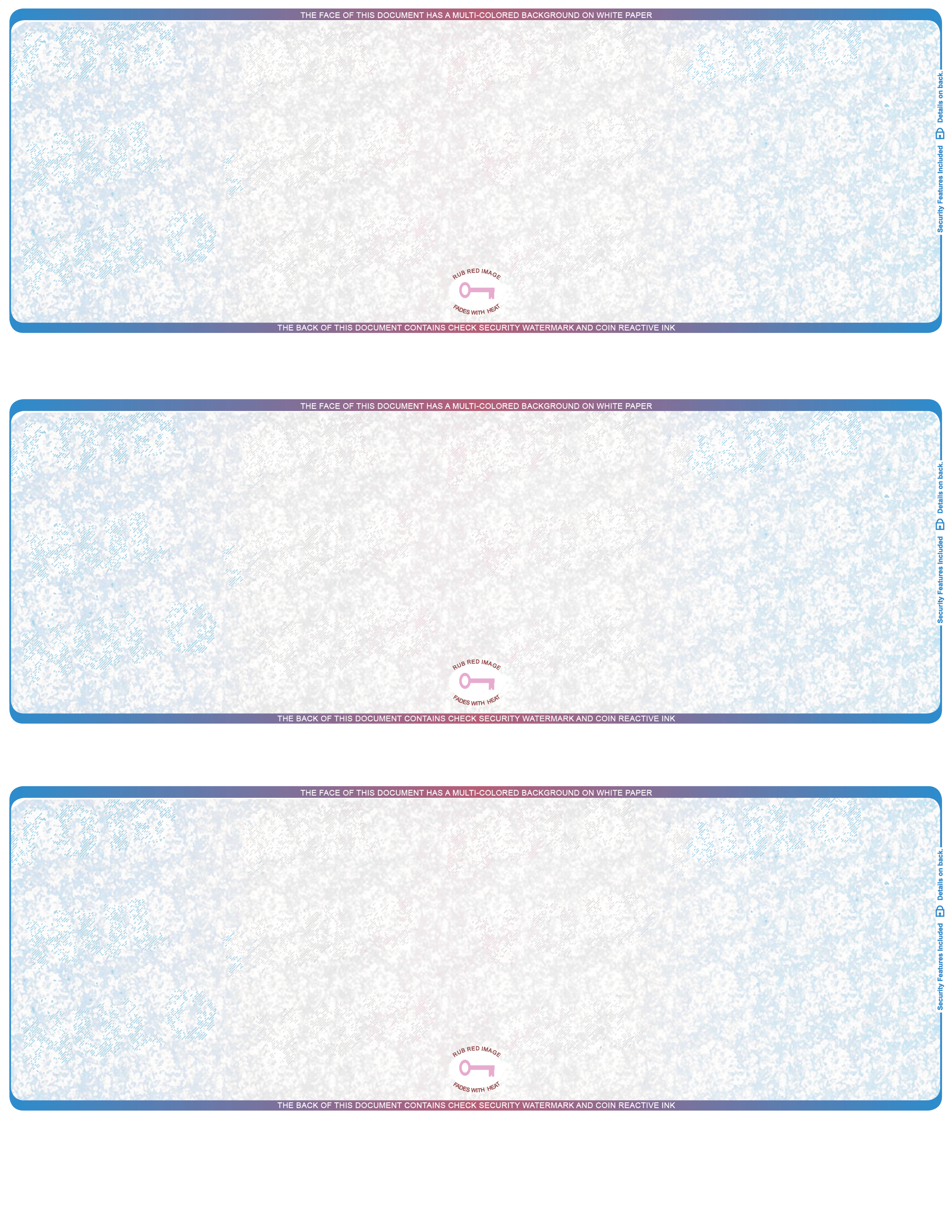 blue  red blank high security 3 to a page laser checks