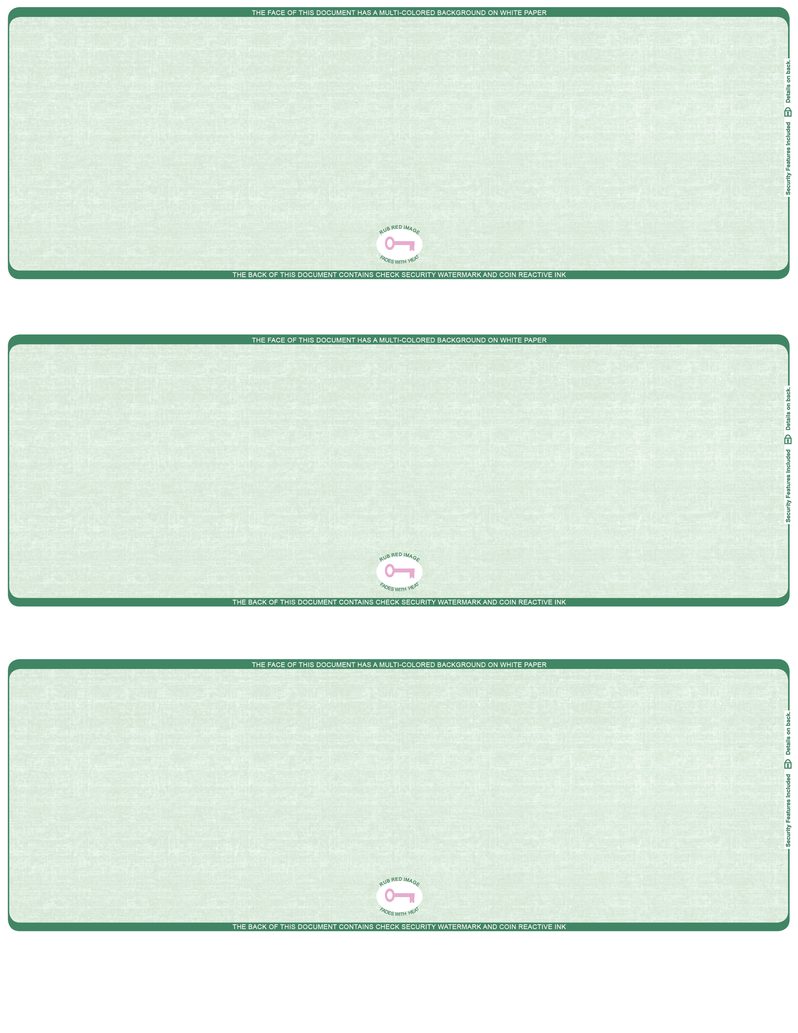 Green Safety Blank High Security 3 To A Page Laser Checks