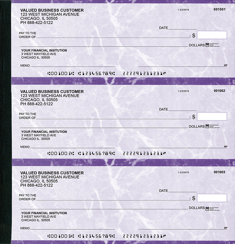 Violet Marble Executive Deskbook Checks