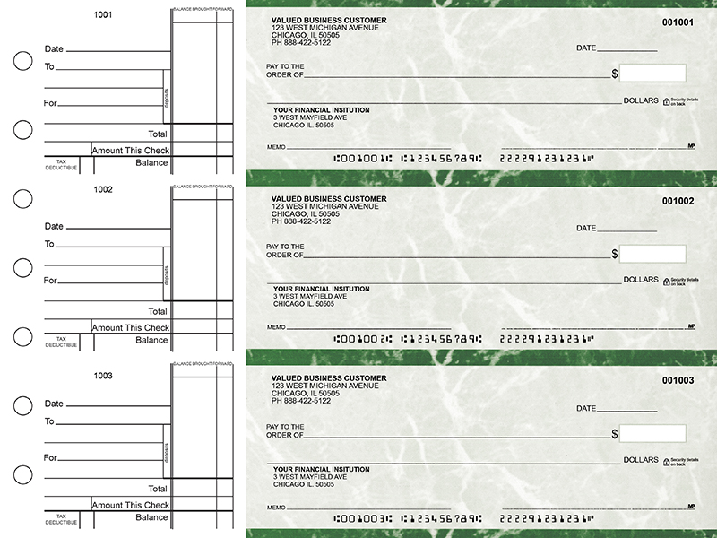 Green Marble Standard Business Checks