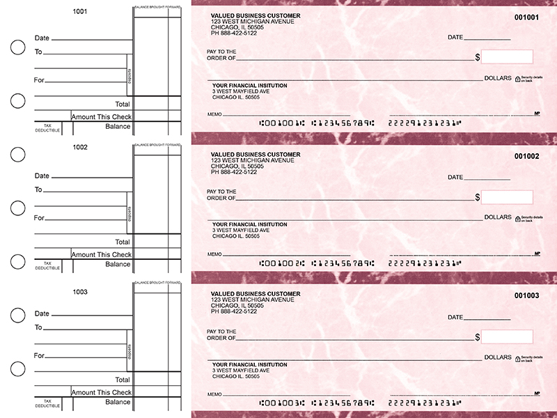 Burgundy Marble Standard Business Checks
