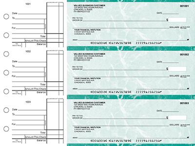 Teal Marble Standard Business Checks