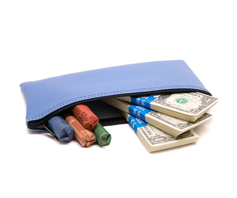Light Blue Zipper Bank Bag 5.5 X 10.5