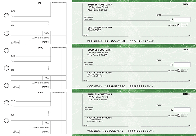 Green Marble Standard Counter Signature Business Checks