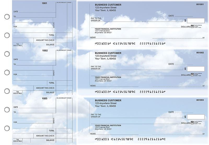 Clouds Standard Counter Signature Business Checks
