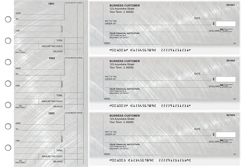 Brushed Metal Standard Counter Signature Business Checks