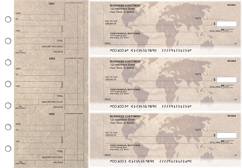 World Map Standard Counter Signature Business Checks