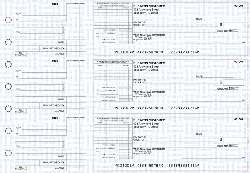 Blue Knit Standard Itemized Invoice Business Checks