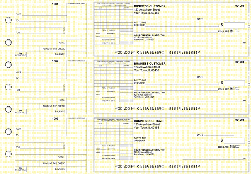 Yellow Knit Standard Itemized Invoice Business Checks