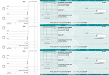 Teal Marble Standard Itemized Invoice Business Checks