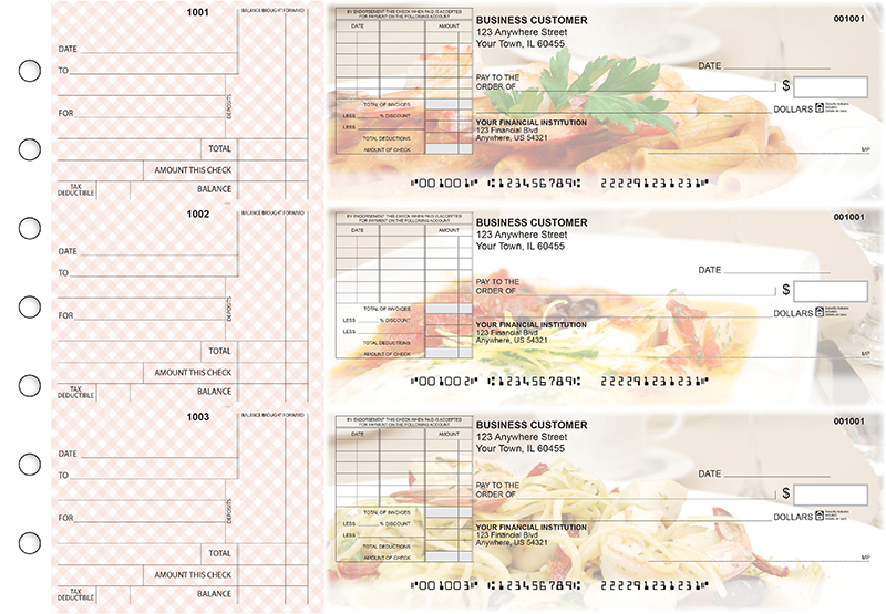 Italian Cuisine Standard Itemized Invoice Business Checks