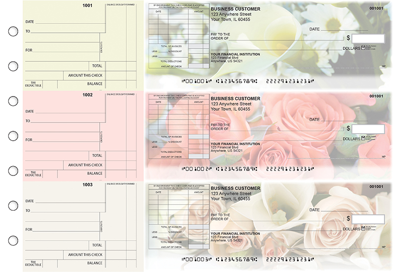 Florist Standard Itemized Invoice Business Checks