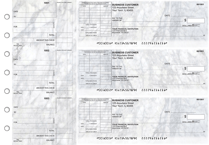Marble Standard Itemized Invoice Business Checks