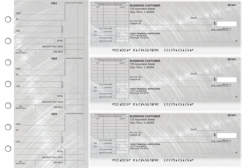 Brushed Metal Standard Itemized Invoice Business Checks