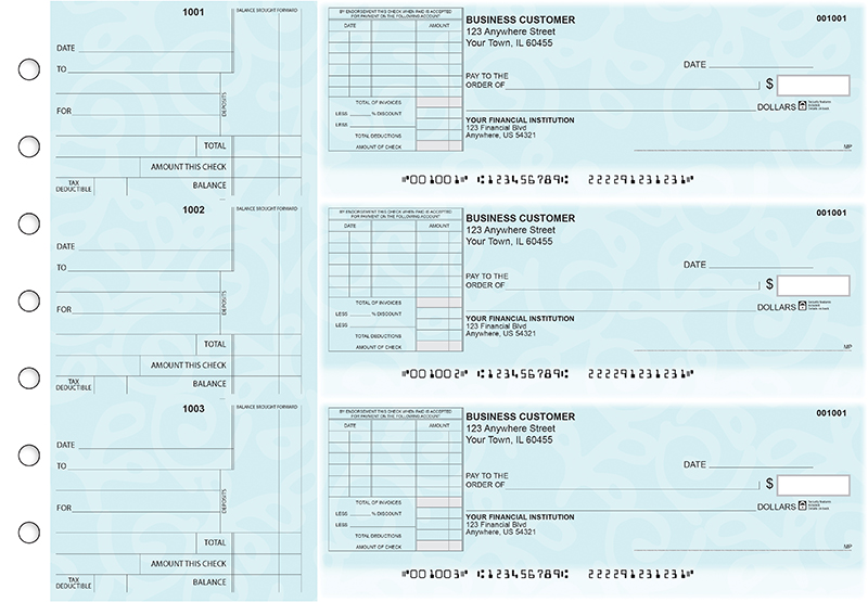 Swirls Standard Itemized Invoice Business Checks