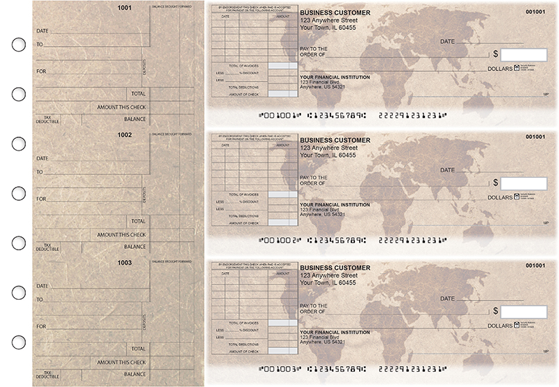 World Map Standard Itemized Invoice Business Checks