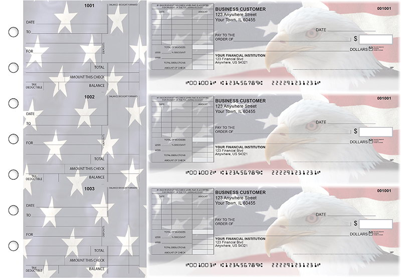 American Flag Standard Itemized Invoice Business Checks