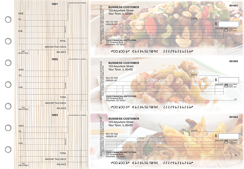 Chinese Cuisine Itemized Counter Signature Business Checks