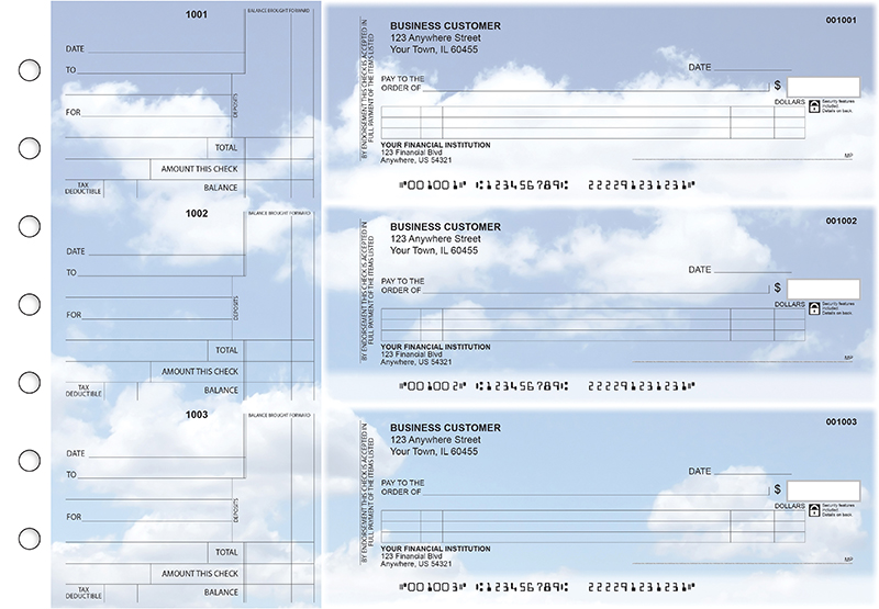 Clouds Itemized Counter Signature Business Checks