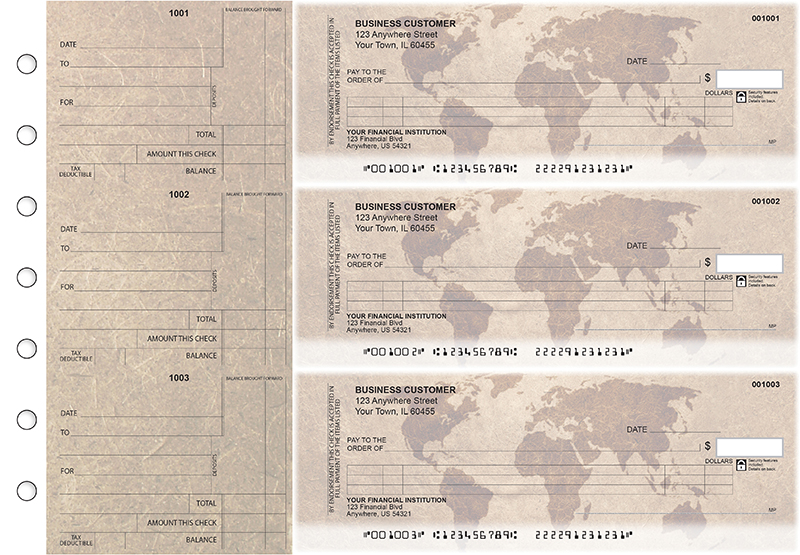 World Map Itemized Counter Signature Business Checks